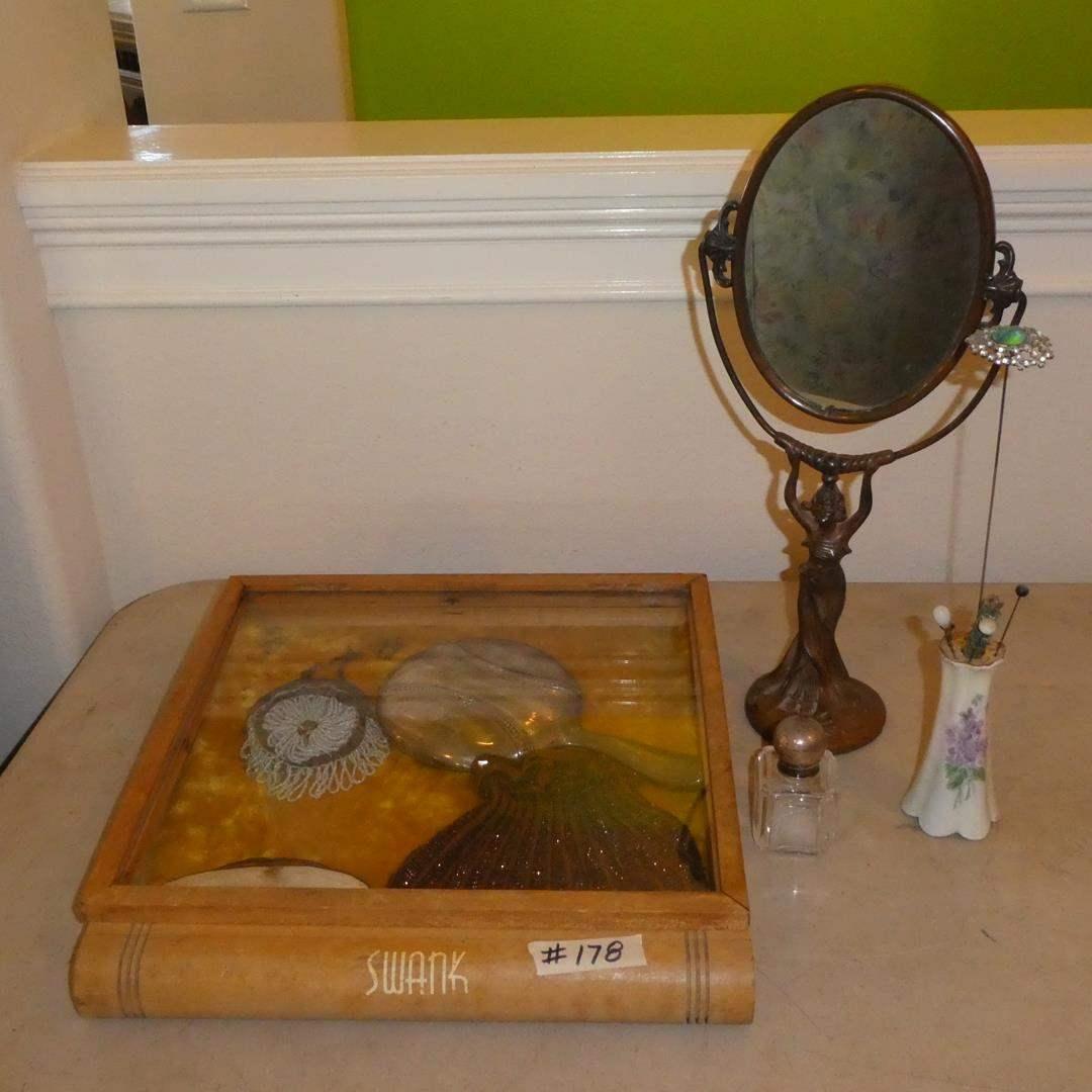 Lot # 178 - Vintage Swank Case, Beaded Purses, Nail Buffer, Hand Mirror, Hat Pins & Art Deco Mirror (main image)