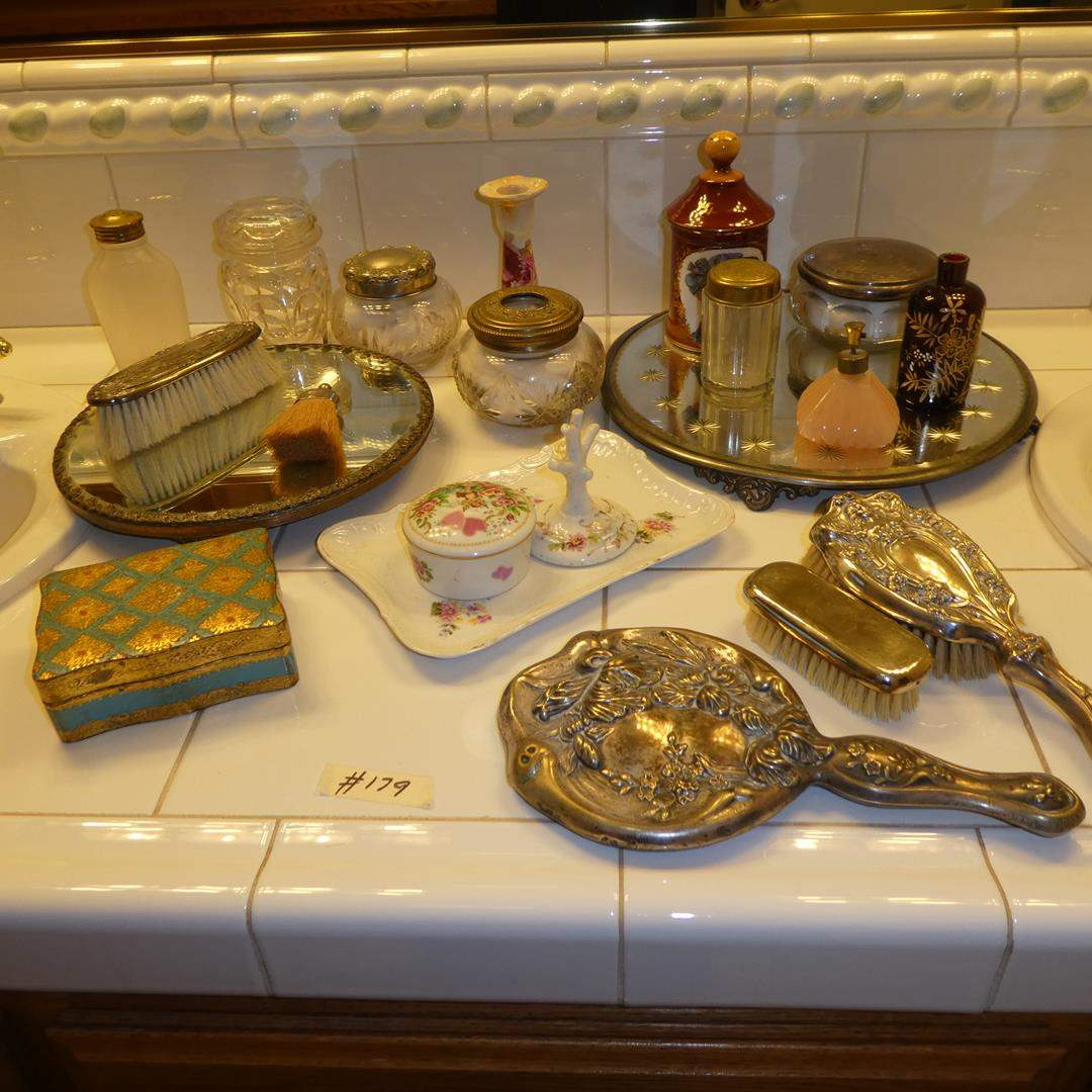 Lot # 179 - Vintage Ladies Vanity Items Collection - Trays, Powder Boxes, Brushes & More (main image)