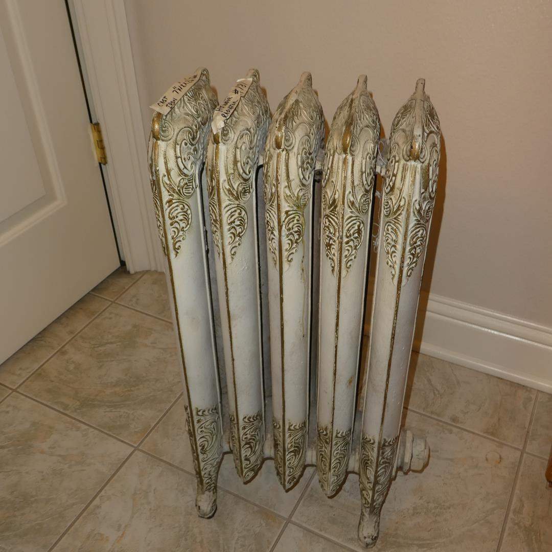 Lot # 181 - Antique 5 Column Ornate Victorian Motif Cast Iron Radiator (main image)