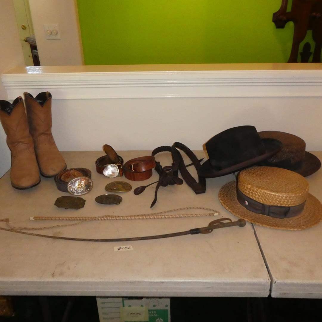 Lot # 182 - Men's Cowboy Boots (Sz. 12), Vintage Hats, Belts, Buckles & Horse Whips (main image)