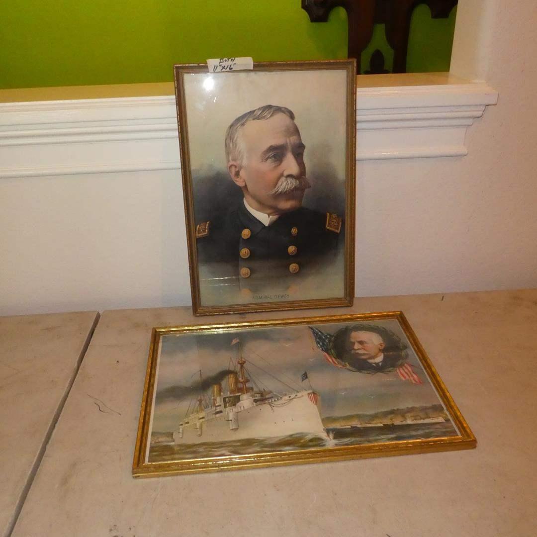 Lot # 184 - Two Vintage Admiral Dewey Framed Prints (main image)