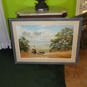 Lot # 185 - Large Framed Vintage 1975 Western Oil on Canvas by Stephen J. Hubbell