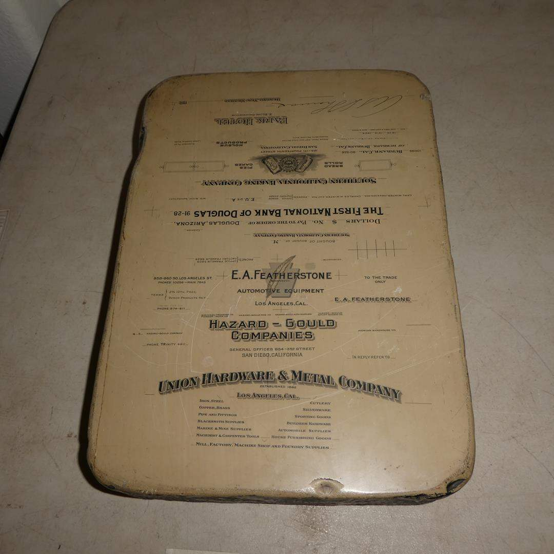 Lot # 186 - Antique Lithograph Printing Stone 1900's Multiple Companies - Double Sided (main image)