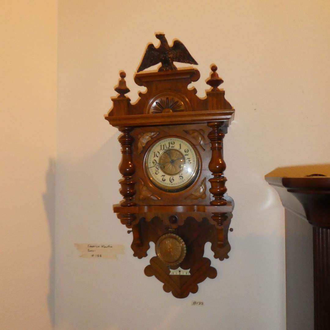 Lot # 188 - Antique Fredrick Mauthe Pendulum Wall Clock w/Eagle - Runs (main image)