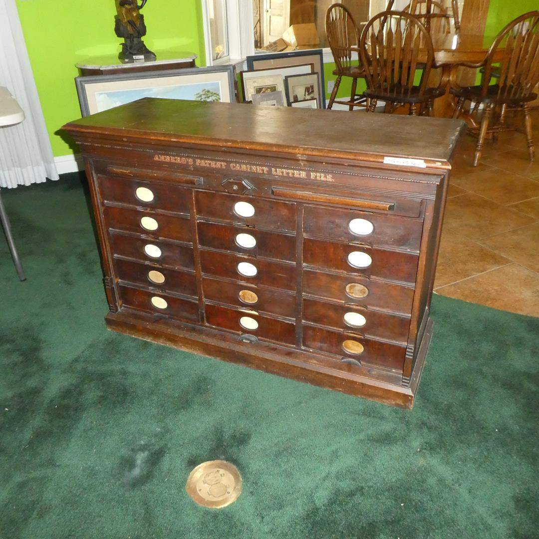 Lot # 189 - Wonderful Antique Amberg's Patent Cabinet Imperial Letter File (15 Dovetailed Drawers) (main image)