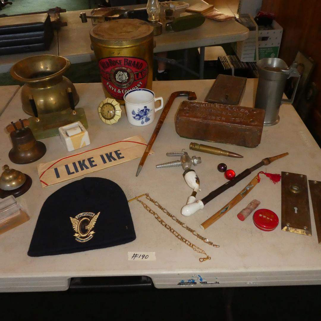Lot # 190 - Brass Spittoon, Sheaffer's Desk Set, Porcelain Buck Tobacco Pipe, Pewter Stein & Other Vintage Items (main image)