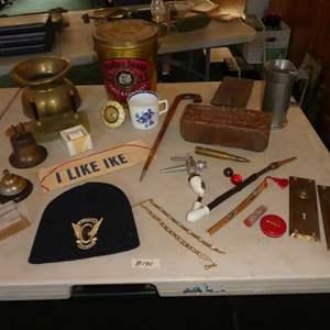 Lot # 190 - Brass Spittoon, Sheaffer's Desk Set, Porcelain Buck Tobacco Pipe, Pewter Stein & Other Vintage Items