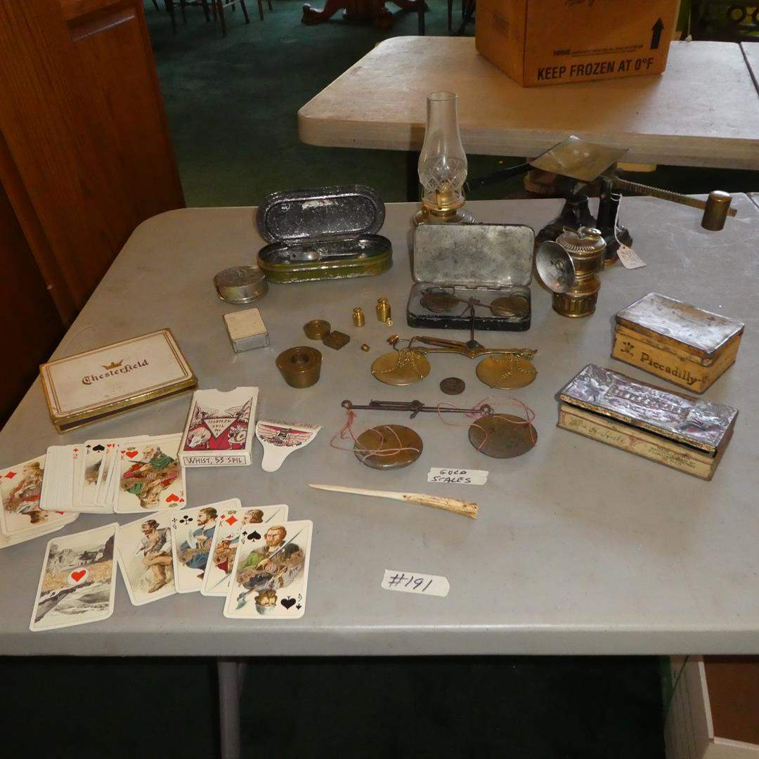 Lot # 191 - Vintage Cards, Tins, Gold Scales, Fairbanks Postal Scale & More (main image)