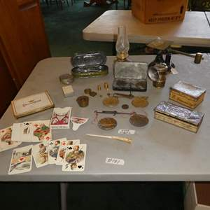 Lot # 191 - Vintage Cards, Tins, Gold Scales, Fairbanks Postal Scale & More