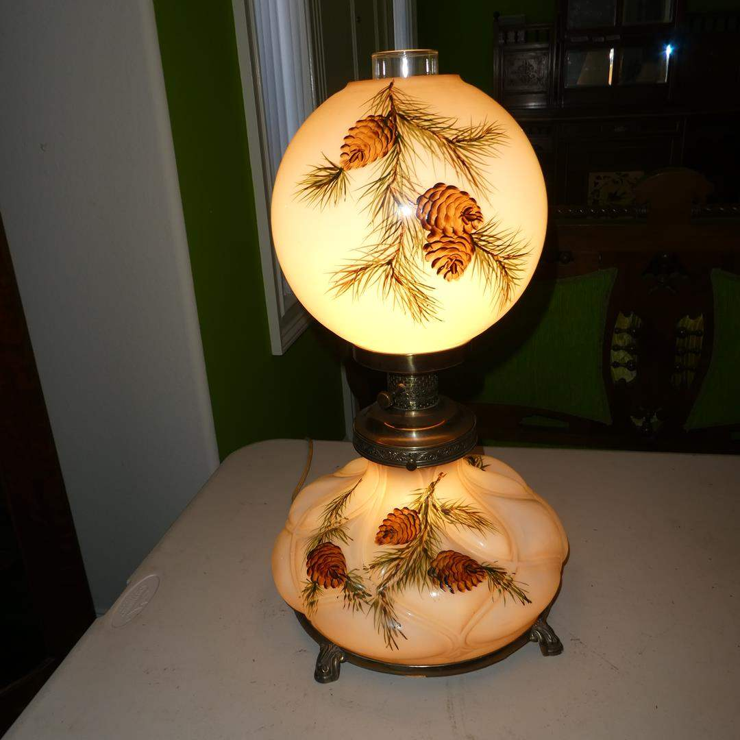 Lot # 192 - Vintage Hand Painted Pine Cones Glass & Brass 3-Way Parlor Lamp (main image)