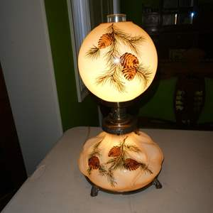 Lot # 192 - Vintage Hand Painted Pine Cones Glass & Brass 3-Way Parlor Lamp