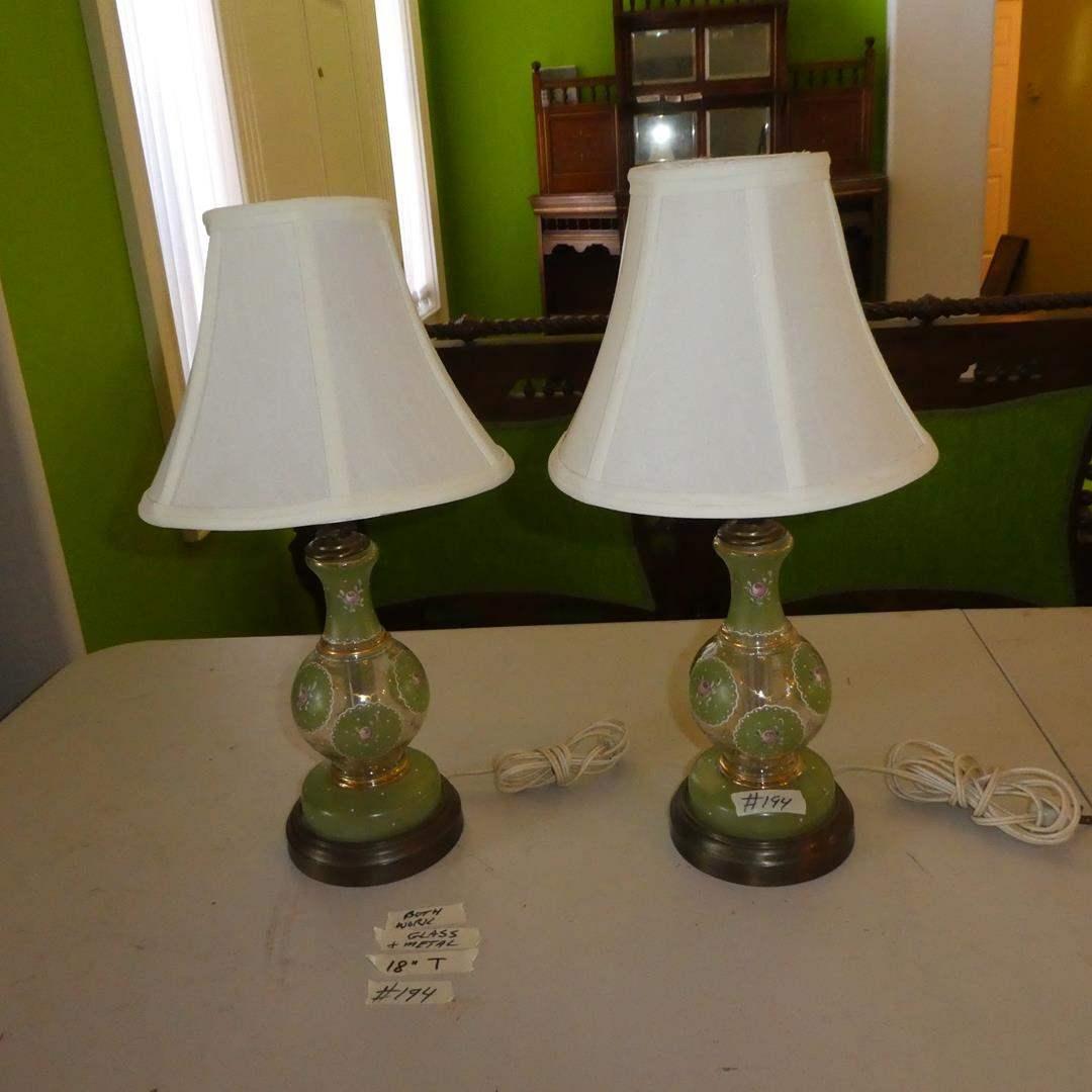 Lot # 194 - Pair Vintage Hand Painted Glass & Metal Dresser Lamps (main image)