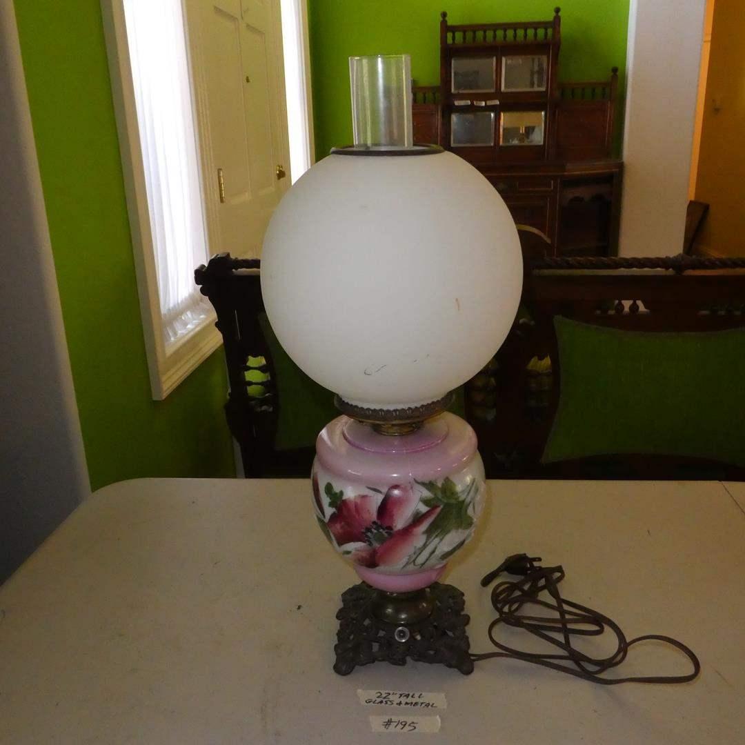 Lot # 195 - Vintage Floral Glass & Metal Parlor Lamp