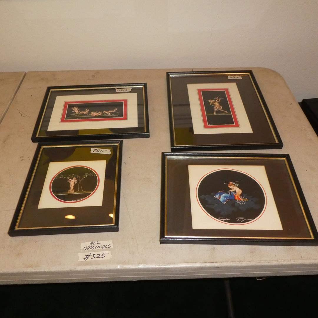 Lot # 325 - Four Framed Maria Graziano Pompeii Fresco of Cherub and Satyr. Original Paintings (main image)