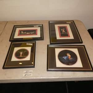 Lot # 325 - Four Framed Maria Graziano Pompeii Fresco of Cherub and Satyr. Original Paintings