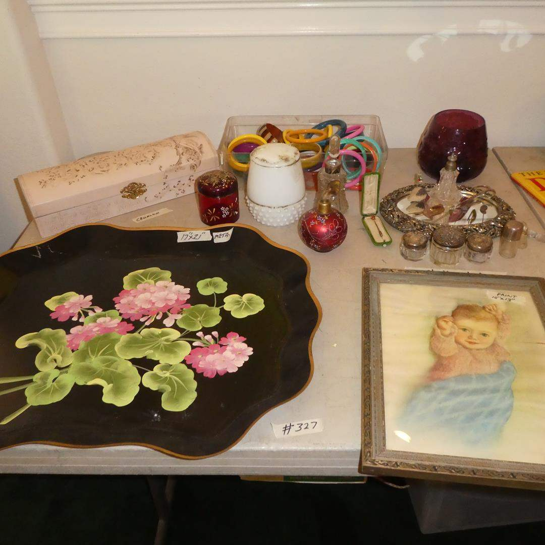 Lot # 327 - Vintage Hand Painted Metal Tray, Framed Baby Print, Celluloid Glove Box, Hat Pins, Bracelets & Vanity Items (main image)