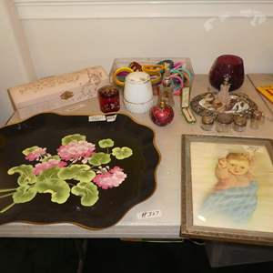 Lot # 327 - Vintage Hand Painted Metal Tray, Framed Baby Print, Celluloid Glove Box, Hat Pins, Bracelets & Vanity Items