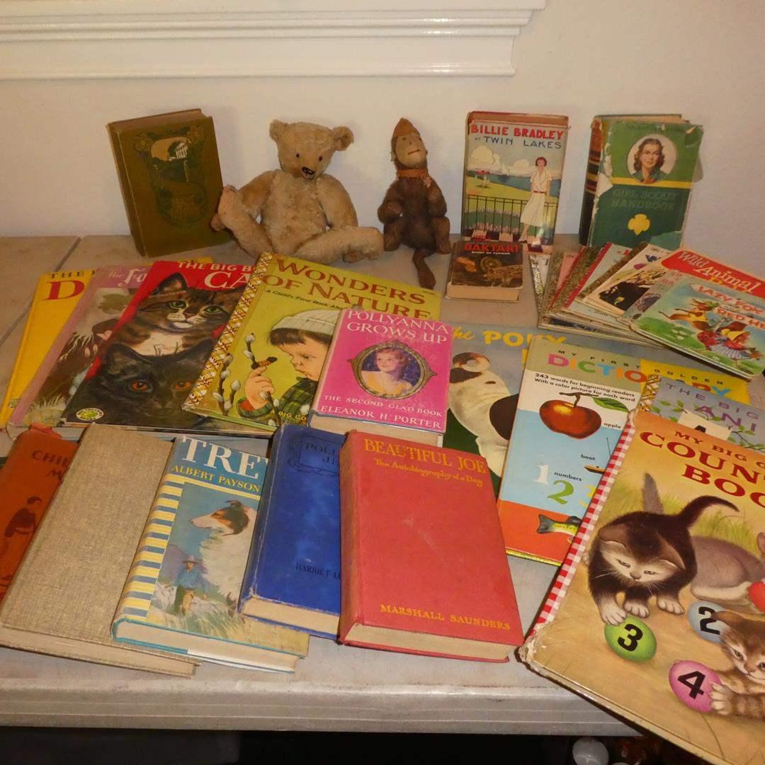 Lot # 328 - Two Antique Stuffed Animals, Vintage & Antique Books (main image)