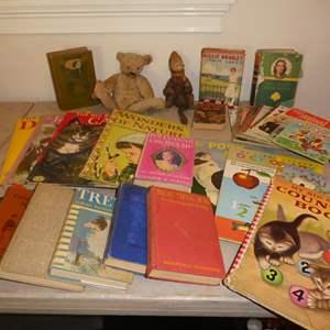 Auction Thumbnail for: Lot # 328 - Two Antique Stuffed Animals, Vintage & Antique Books