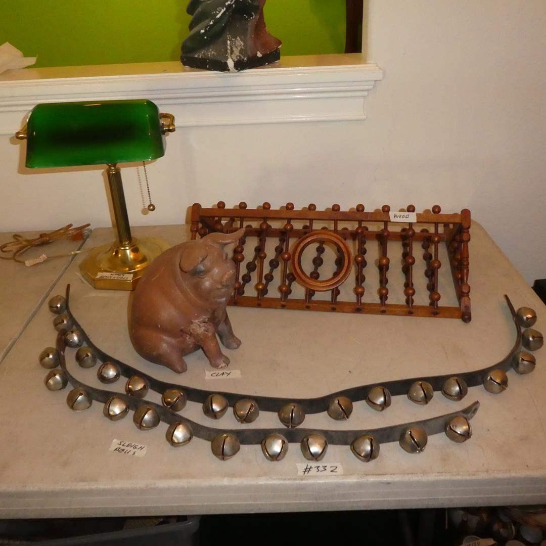 Lot # 332 - Vintage Sleigh Bells, Clay Piggy Bank, Desk Lamp & Hanging Magazine Rack For Bathroom (main image)