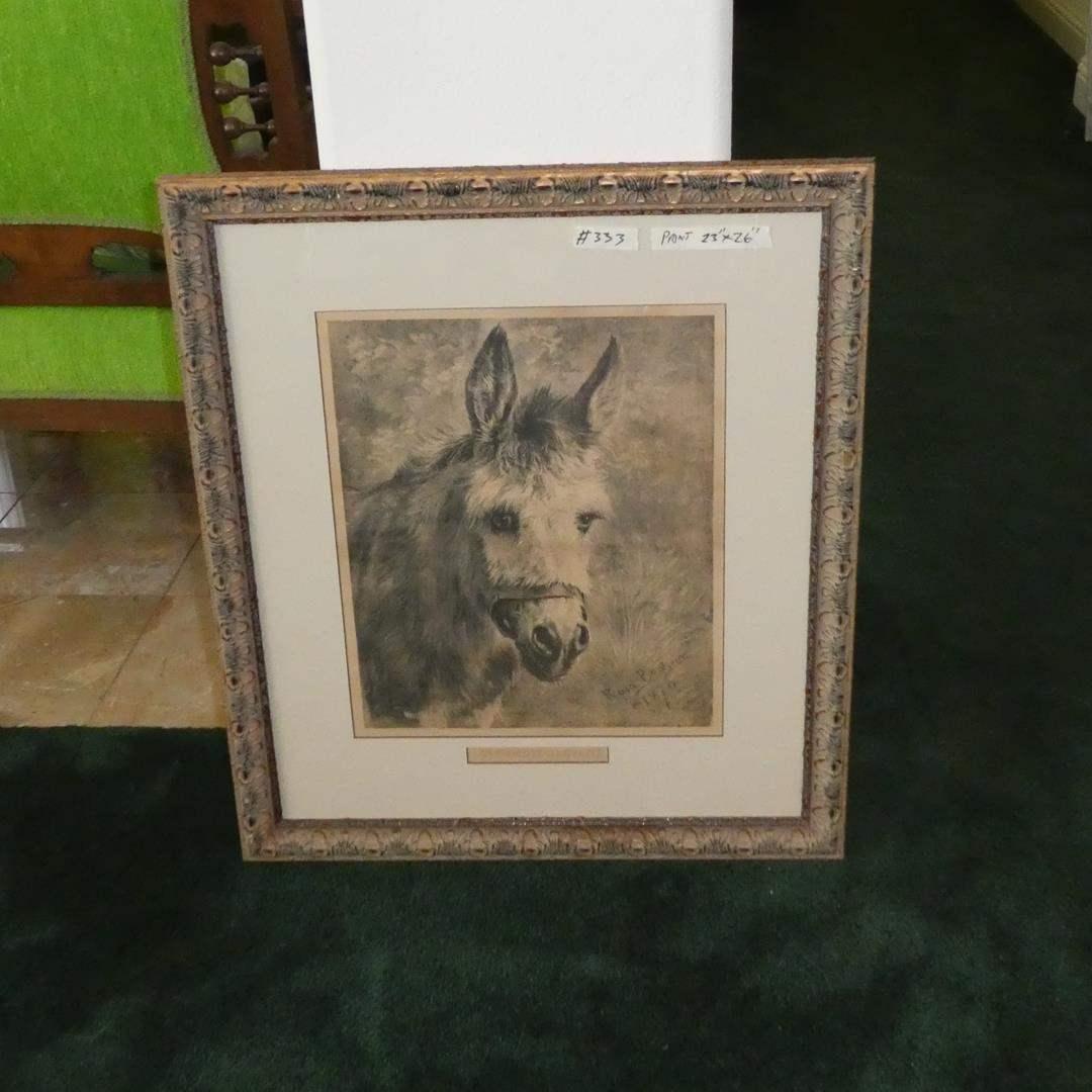 "Lot # 333 - Large Beautifully Framed Print ""An Humble Servant"" by Rosa Bonheur (main image)"