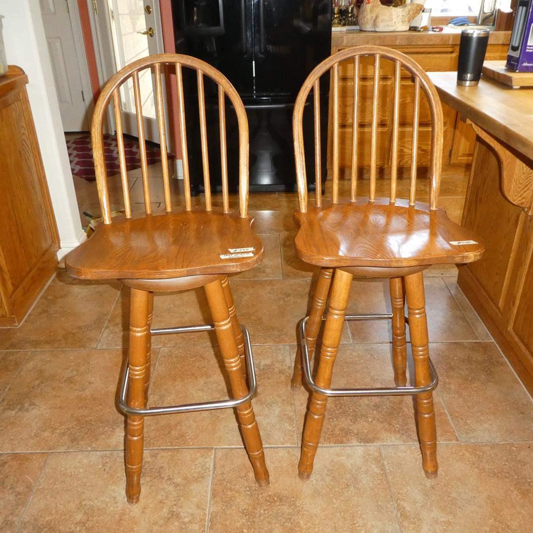 Lot # 335 - Pair Wooden Swivel Bar Stools