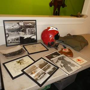Lot # 173 - Rare Vintage United States Military Aviator Helmet, Accessories & Photos