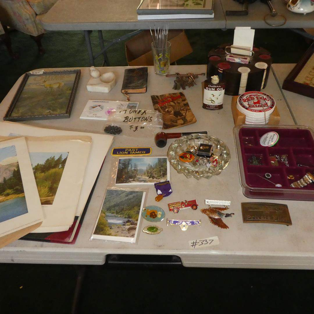 """Lot # 337 - Vintage Standard Oil Co. """"See your West"""" Advertising Prints, Onyx Buttons, Pins, Keys, Crafting/Dental Instruments   (main image)"""