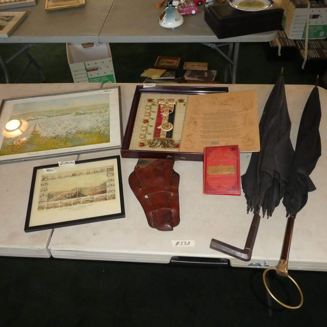 Lot # 338 - Vintage Framed Prints, Antique Knights Of The Maccabees Ribbon Medal, Tray Embroidery Roses & Umbrellas              (main image)
