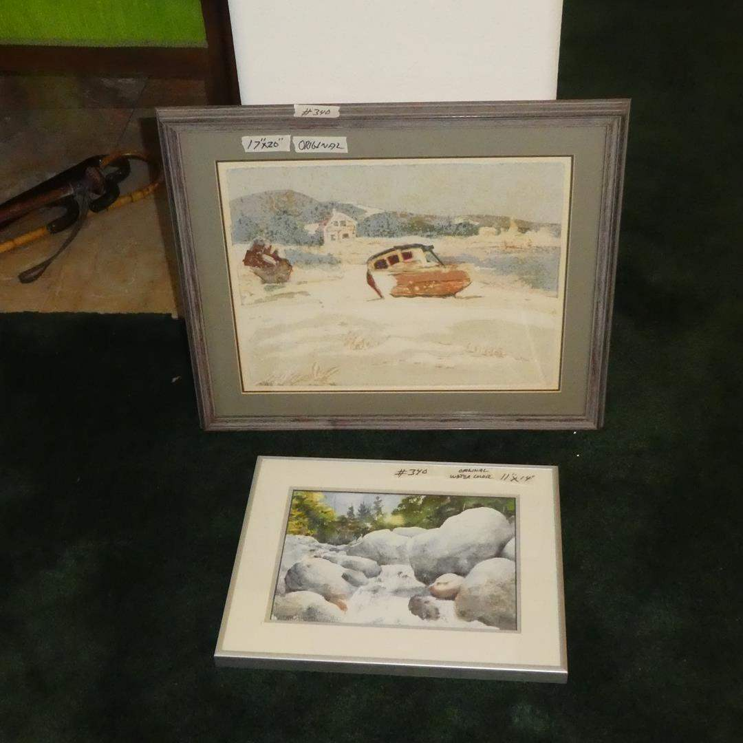 """Lot # 340 - Framed Original Art Picture & Framed Watercolor """"Deer Creek"""" (Trinity Alps) by Keith Crane (main image)"""