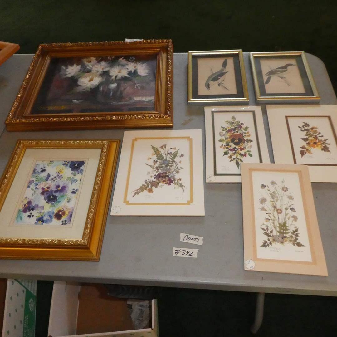 Lot # 342 - Framed Oil on Board by C.R. Shockley, Pressed Flower Collage Prints by Marion & Framed Vintage Bird Prints