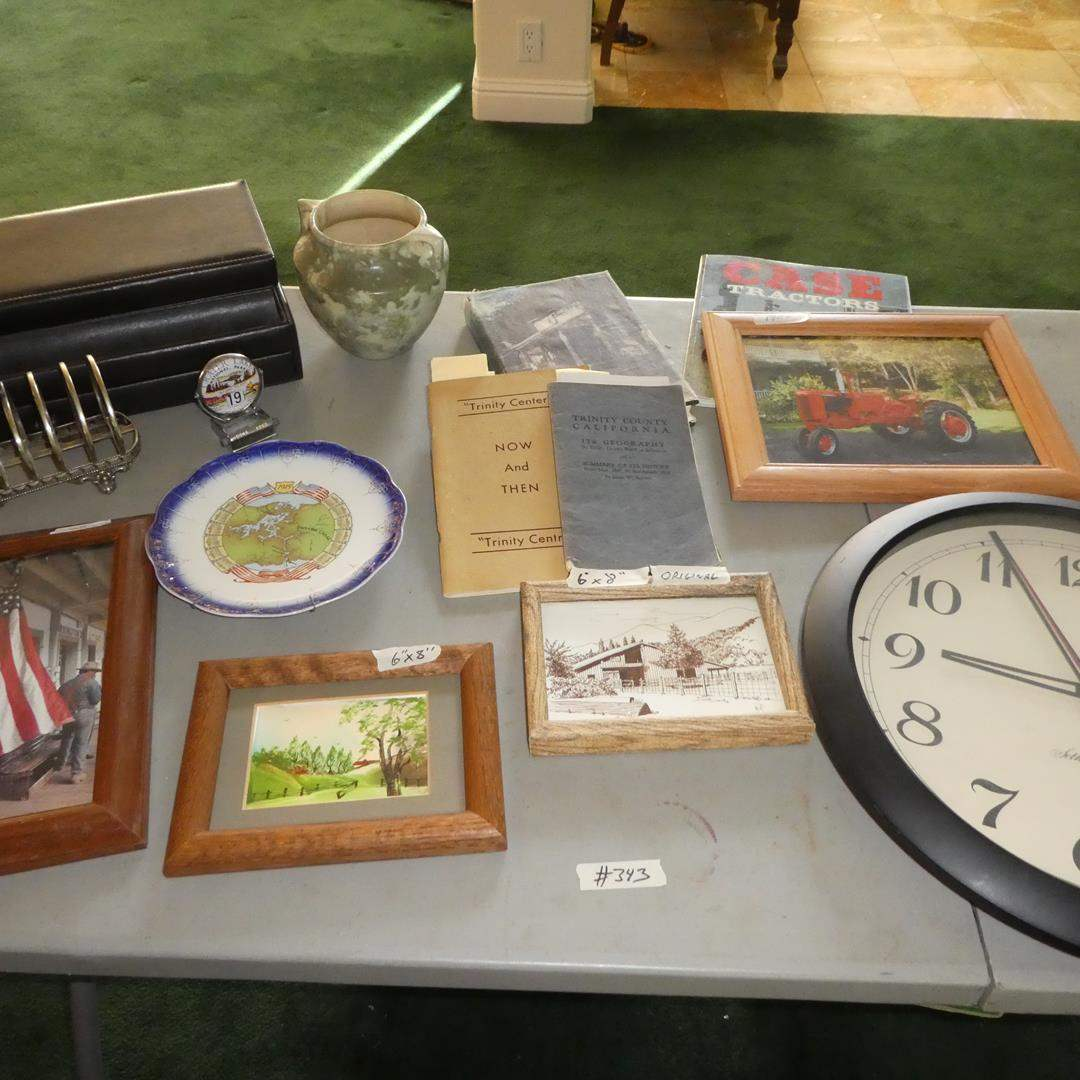 Lot # 343 - Framed Prints, Vtg. Panama Canal Collector Plate, Crater Lake Calendar & Trinity County Brochures (main image)