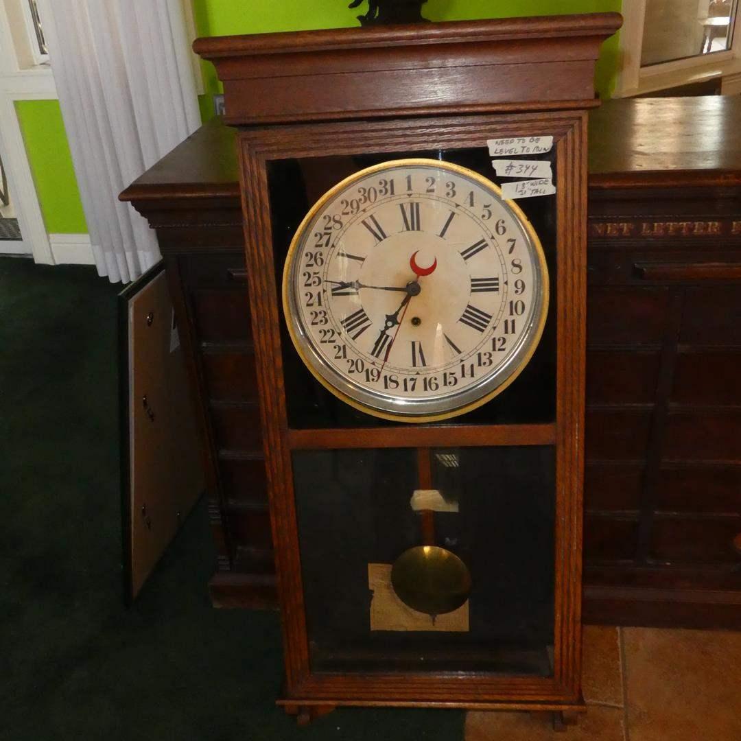 Lot # 344 - Antique Sessions 31 Day Regulator No. 2 Wall Clock w/Key (main image)