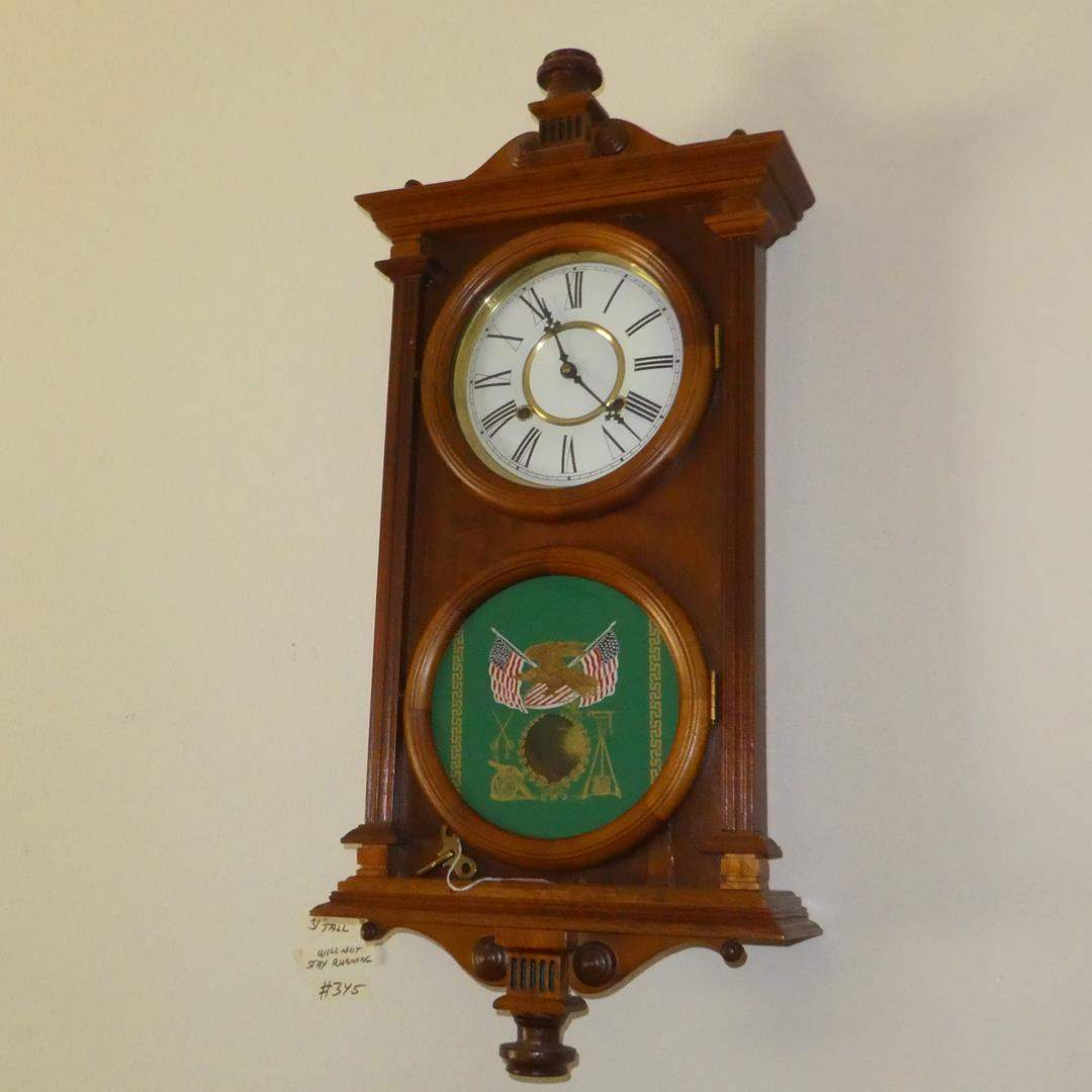 Lot # 345 - Antique Pendulum Wall Clock w/Key (Painted Green Glass w/Eagle & American Flags) (main image)