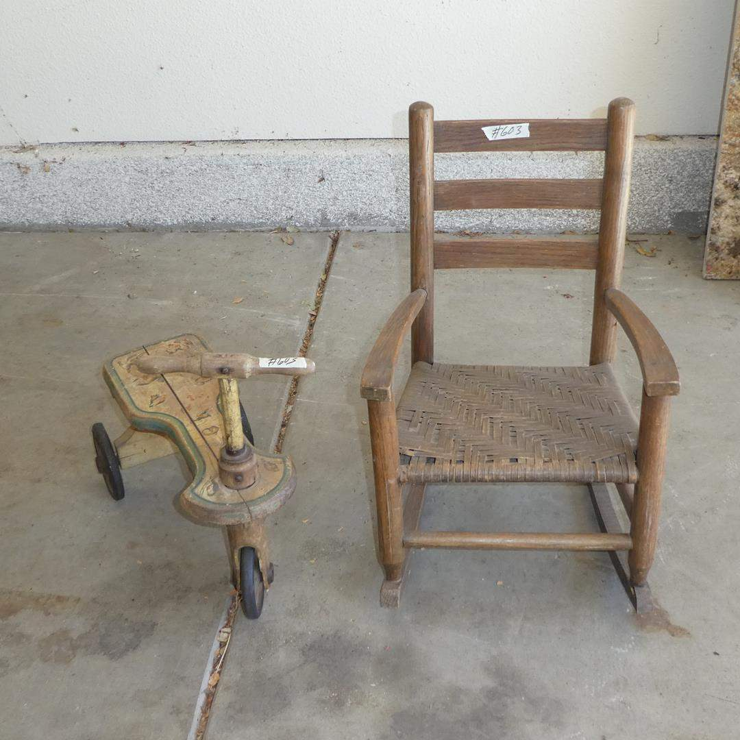 Lot # 603 - Antique Kiddie Kar Wooden Push Tricycle & Childs Rocking Chair (main image)