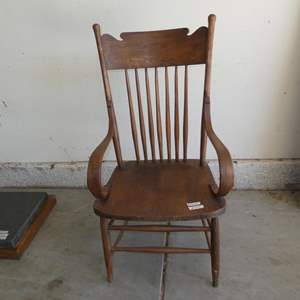 Lot # 604 - Antique Wooden Accent Chair - Nice Condition