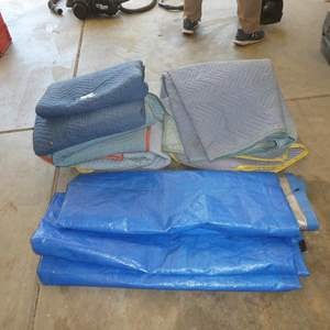 Lot # 610 - Five Moving Blankets & One Large Tarp