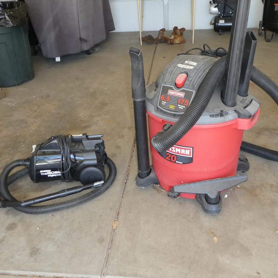 Lot # 612 - Eureka The Boss Mightymite Vacuum & Craftsman 20 Gallon Shop Vac (main image)