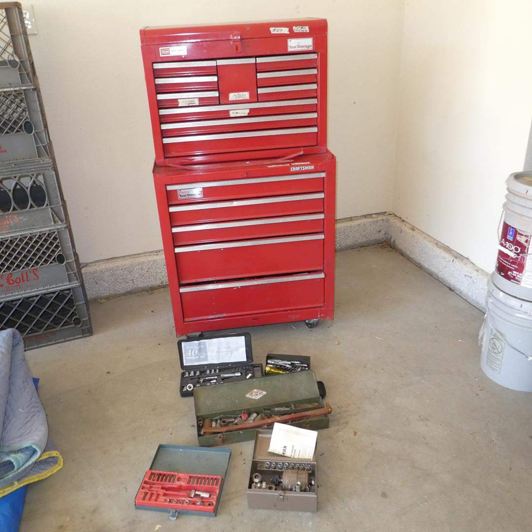 Lot # 614 - Craftsman Two Piece 15 Drawer Tool Chest Full of Tools (No Key) (main image)
