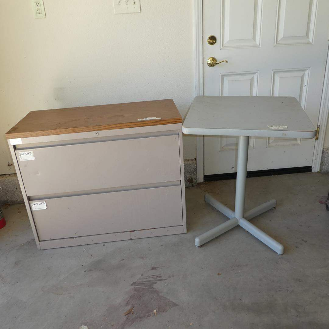 Lot # 615 - Metal Two Drawer Cabinet & Table (main image)