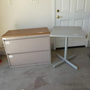 Lot # 615 - Metal Two Drawer Cabinet & Table