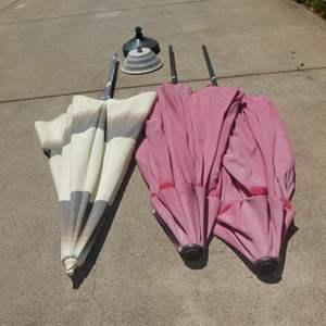 Lot # 622 - Three Tilt Patio Umbrellas & Two Umbrella Stands