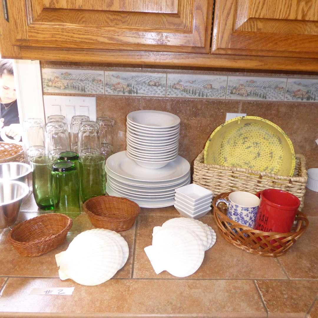 Lot # 2 - Inter American Porcelain Bowls, Drinking Glasses, Serving Shells & More  (main image)