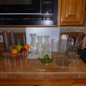Lot # 4 - Vintage Glass Juicer Reamers, Glass Pitchers & Wine & Juice Decanters
