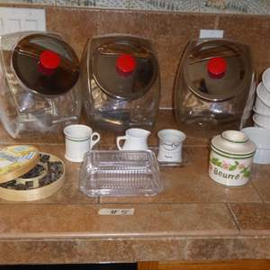 Lot # 5 - Glass Canister Dishes, Butter Dishes & Cookie Cutters