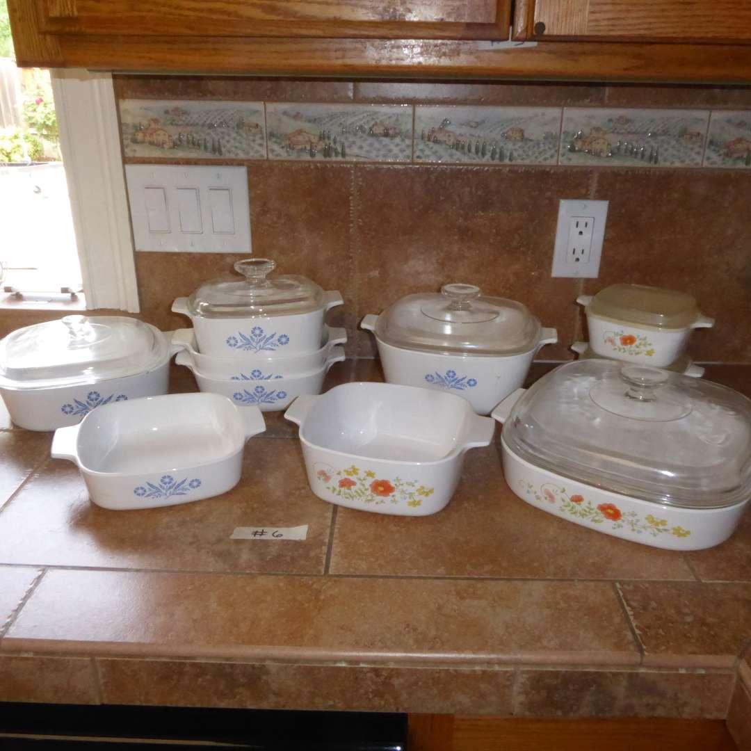 Lot # 6 - CorningWare Blue Cornflower & Wildflower Casserole/Baking Dishes (main image)