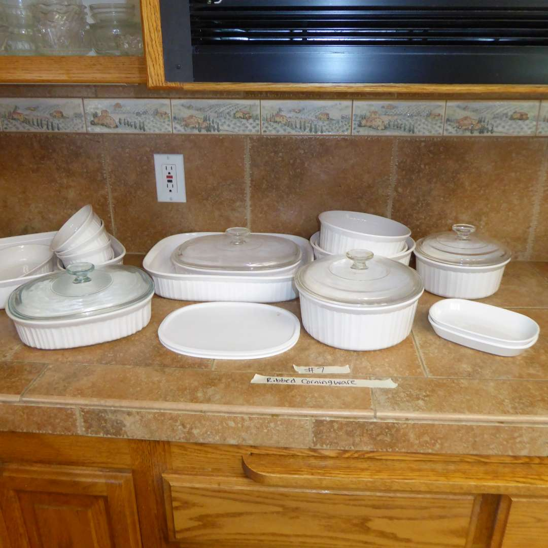 Lot # 7 - Ribbed CorningWare Baking & Serving Dishes - Oven/Microwave Proof (main image)