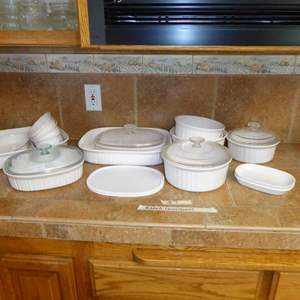 Lot # 7 - Ribbed CorningWare Baking & Serving Dishes - Oven/Microwave Proof