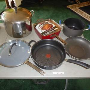 Lot # 10 - Red Copper Square & Other Pots & Pans