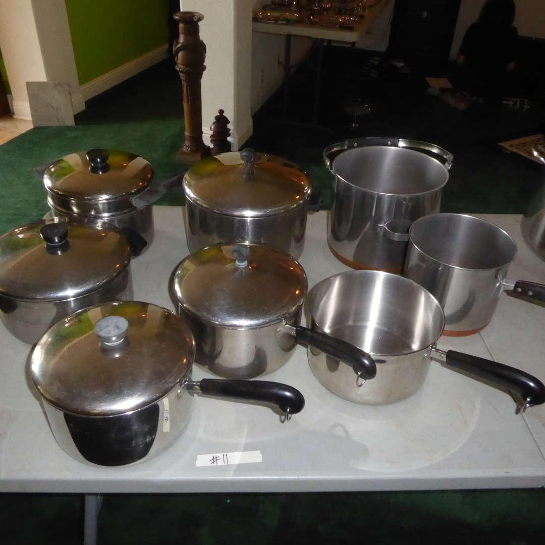 Lot # 11 - Aluminum Clad Farberware, Copper Bottom Revere Ware & More